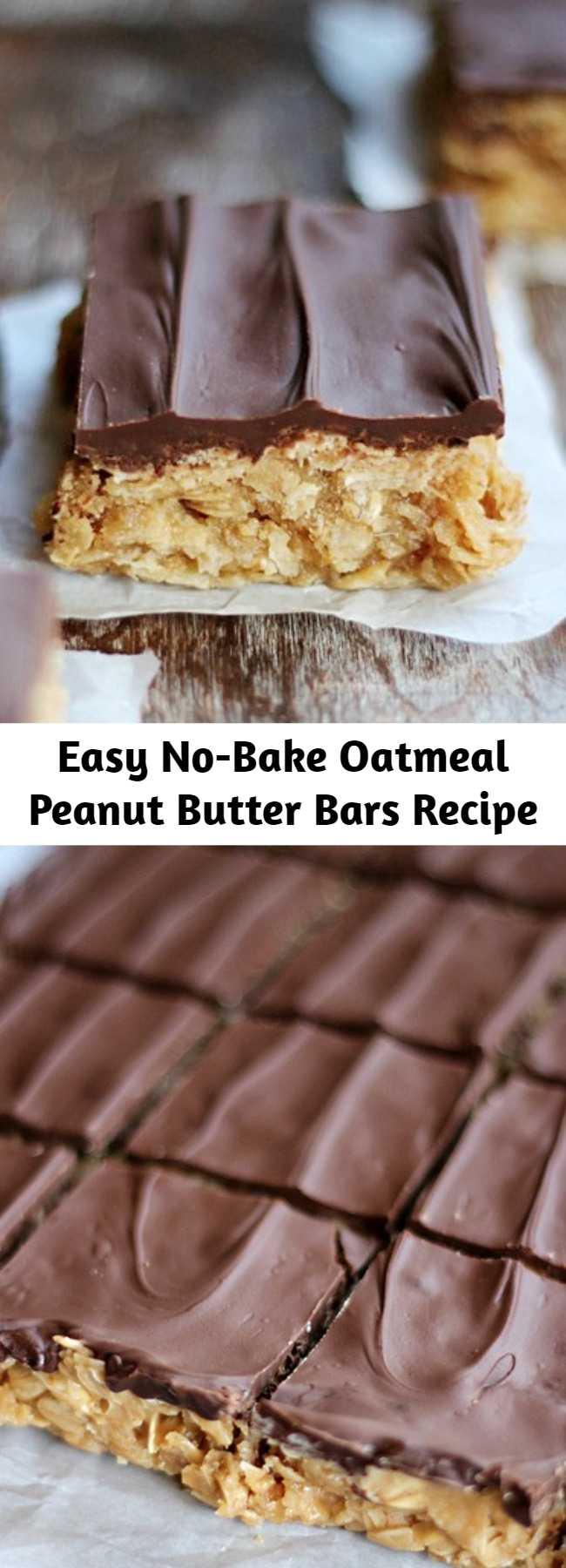 Easy No-Bake Oatmeal Peanut Butter Bars Recipe - Creamy peanut butter intertwining with oats, blanketed with melted chocolate and cut into bite size squares! You'll love how easy and scrumptious these No Bake Oatmeal Peanut Butter Bars are! #NoBakeBars