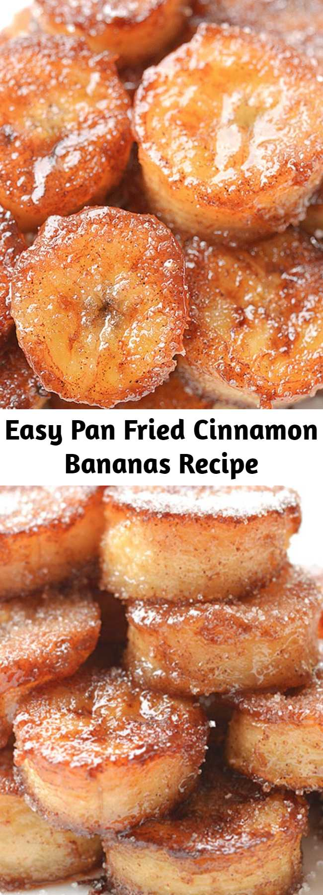 Easy Pan Fried Cinnamon Bananas Recipe - These pan fried cinnamon bananas are soooooo good! They only take a few minutes to make and they transform boring old bananas into a drool-worthy snack or dessert. I eat my pan fried bananas all on their own, but they would taste amazing (seriously AMAZING) served over ice cream. They're caramelized on the outside with a soft and sweet inside and make a great dessert topping. Yum!
