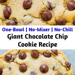 An incredibly FAST and EASY recipe that produces one GIANT soft and chewy cookie that's loaded with chocolate!! One bowl to wash, no mixer, and no waiting!!