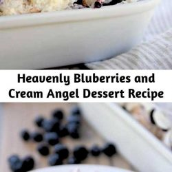 This heavenly blueberry angel food cake dessert is so light and delicious! It makes the perfect ending to any meal – everyone always asks for the recipe!