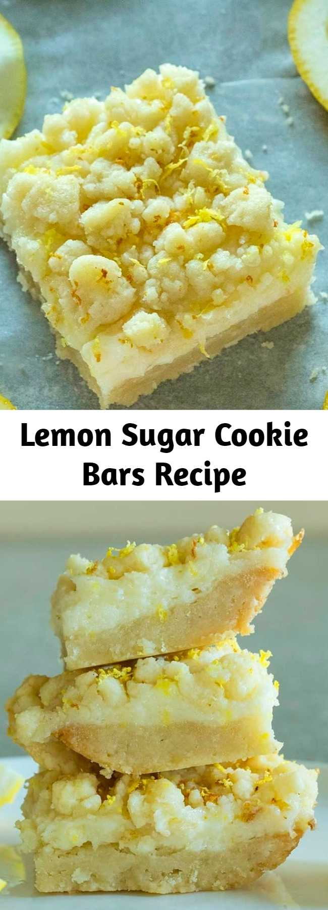 Lemon Sugar Cookie Bars Recipe - These easy lemon bars have a sweet sugar cookie crust topped with a tangy lemon cheesecake filling and then topped with more sugar cookie crumble. The perfect balance of sweet and tangy.