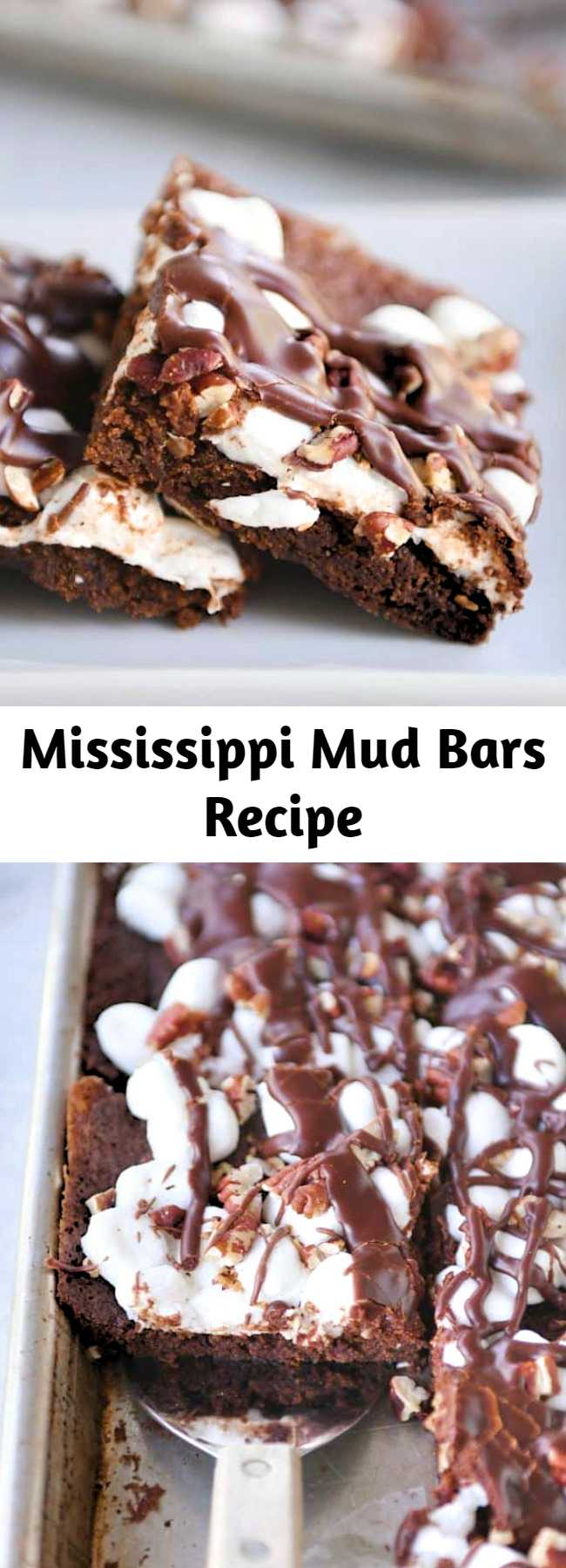 Mississippi Mud Bars Recipe - The brownie + marshmallows + toasted pecans + fudge sauce combo has never been tastier (or easier!). These Mississippi Mud Bars are insanely delicious and so simple to make!
