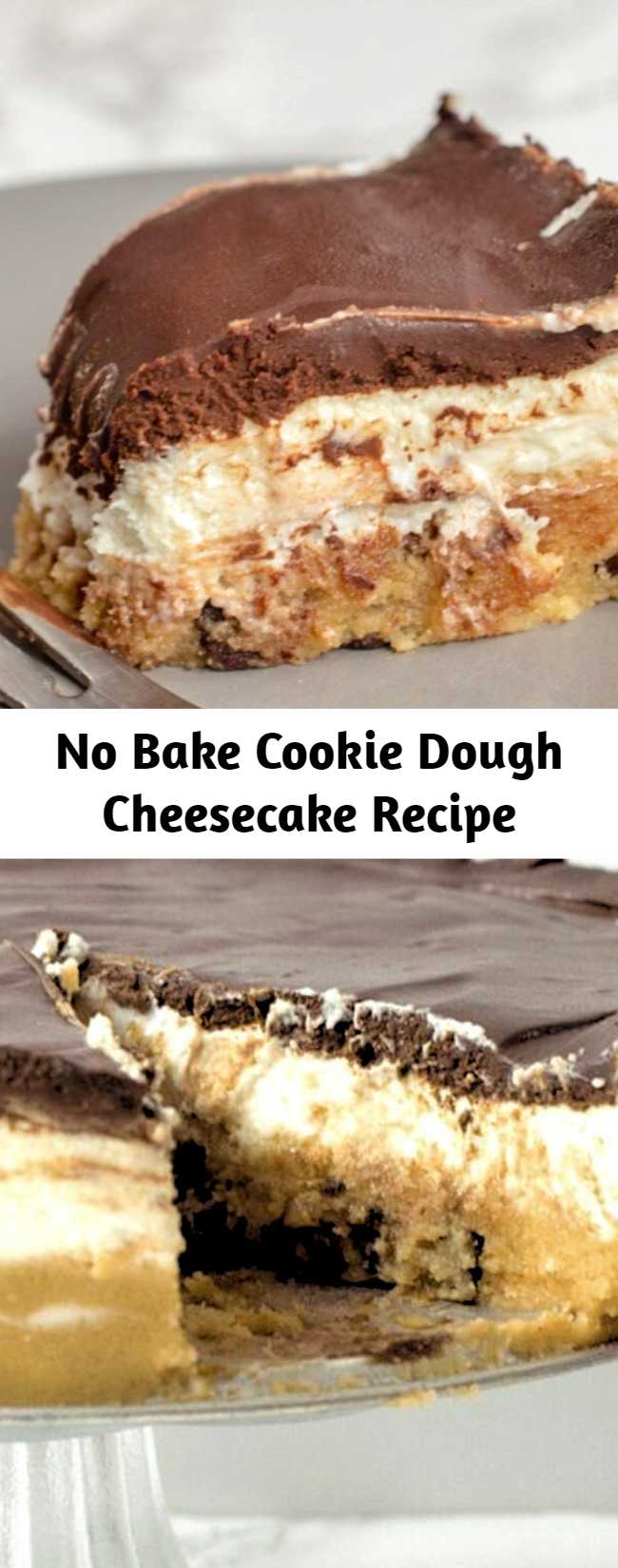 With a layer of raw chocolate chip cookie dough, a layer of creamy cheesecake, and a layer of rich chocolate ganache my No-Bake Cookie Dough Cheesecake may be the best dessert ever. This easy recipe is low carb, keto, gluten-free, grain-free, sugar-free, and Trim Healthy Mama friendly. #lowcarb #lowcarbrecipes #lowcarbdiet #keto #ketorecipes #ketodiet #thm #trimhealthymama #glutenfree #grainfree #glutenfreerecipes #recipes #cheesecake #nobake #desserts #dessertrecipes #ketodessert #lowcarbdessert