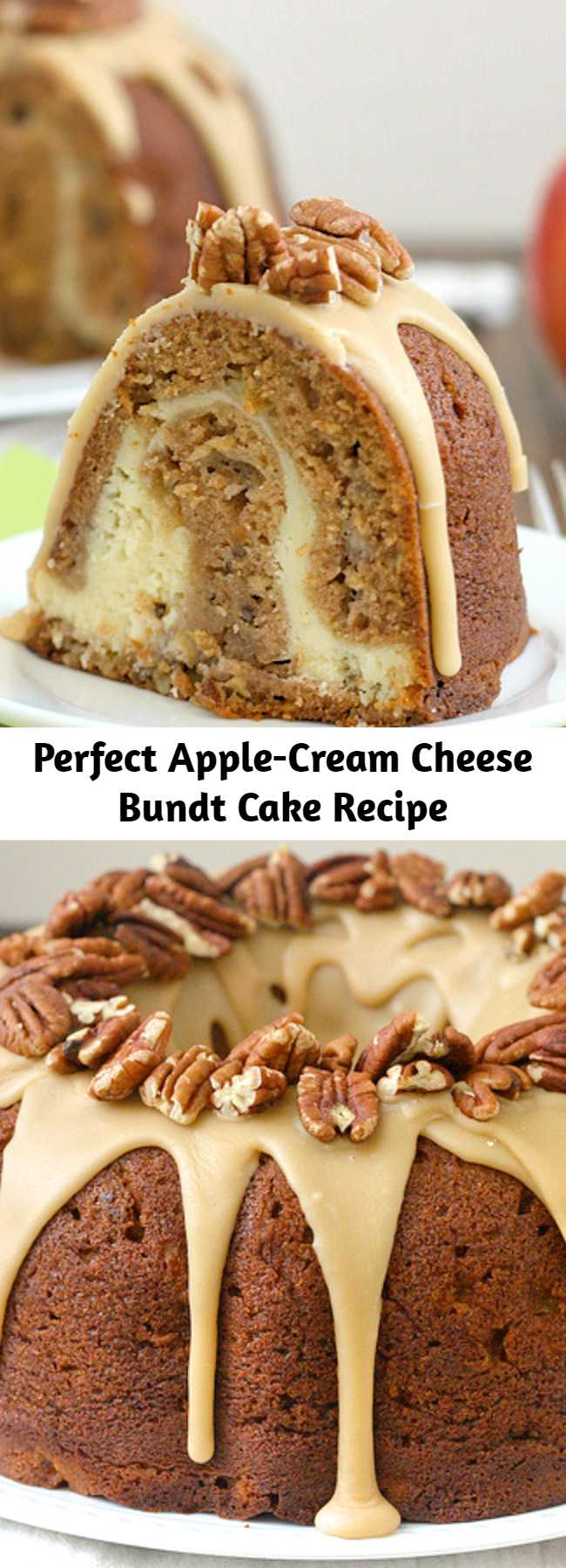 Perfect Apple-Cream Cheese Bundt Cake Recipe - This bundt was the perfect dessert to kick off apple season; I could not get enough! In addition to diced apples interspersed throughout the cake, there's also applesauce in the batter for double the apple goodness. The thick pocket of cream cheese in the center is to die for, but my favorite was the sweet praline frosting on top of the cake. Dig in for dessert, or enjoy a slice for breakfast - you can't go wrong either way.