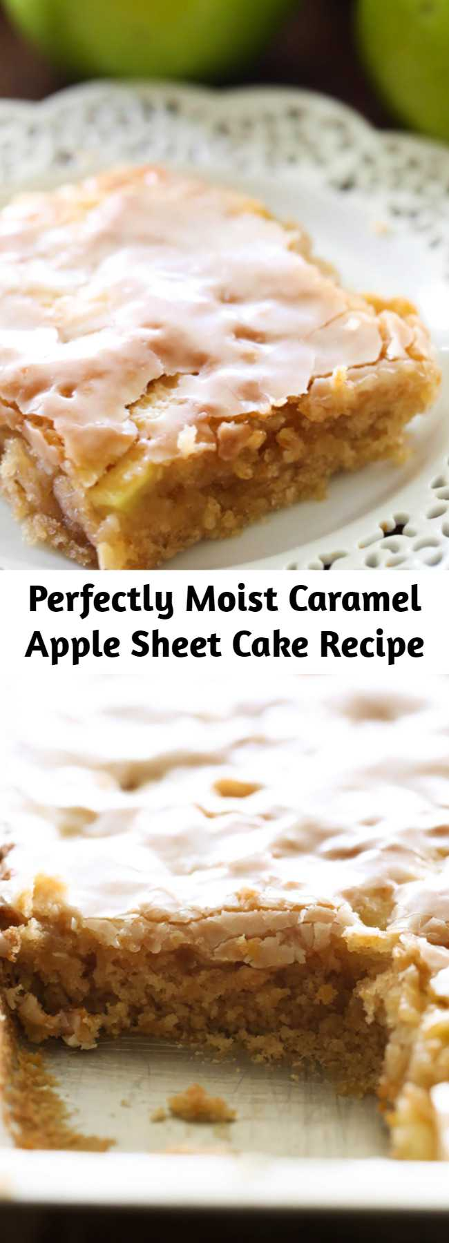 Perfectly Moist Caramel Apple Sheet Cake Recipe - This delicious apple cake is perfectly moist and has caramel frosting infused in each and every bite! It is heavenly!