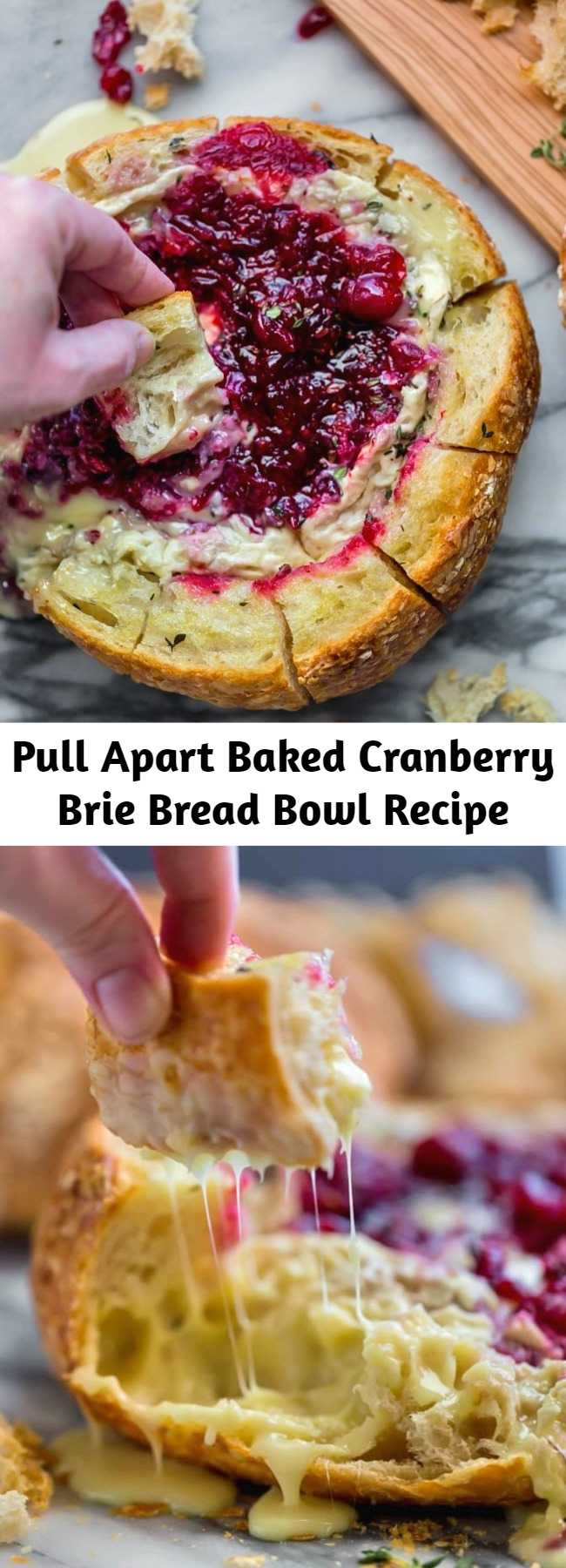 Pull Apart Baked Cranberry Brie Bread Bowl Recipe - This tear apart Baked Cranberry Brie Bread Bowl is a beautiful holiday party appetizer. Melty brie and sweet tart cranberry sauce are a match made in heaven! Great Appetizer for New Years Eve, or Christmas Dinner! #bakedbrie #breadbowl #appetizer #bread #thanksgiving #thanksgivingrecipes #holiday #holidayrecipe #cranberry #brie #recipe #easyrecipe #christmasrecipe #newyearsrecipe