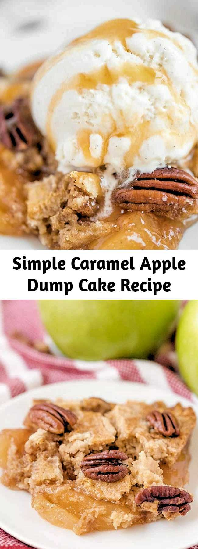 Simple Caramel Apple Dump Cake Recipe - A simple recipe for Caramel Apple Dump cake made with butter pecan cake mix and apple pie filling! A tender and moist spiced cake with tender apples throughout topped with nuts and a caramel drizzle that is the perfect amount of sweetness. Add a scoop of ice cream or dollop of whipped cream and you have a straightforward dessert is crowd worthy. #dumpcake #caramel #apples