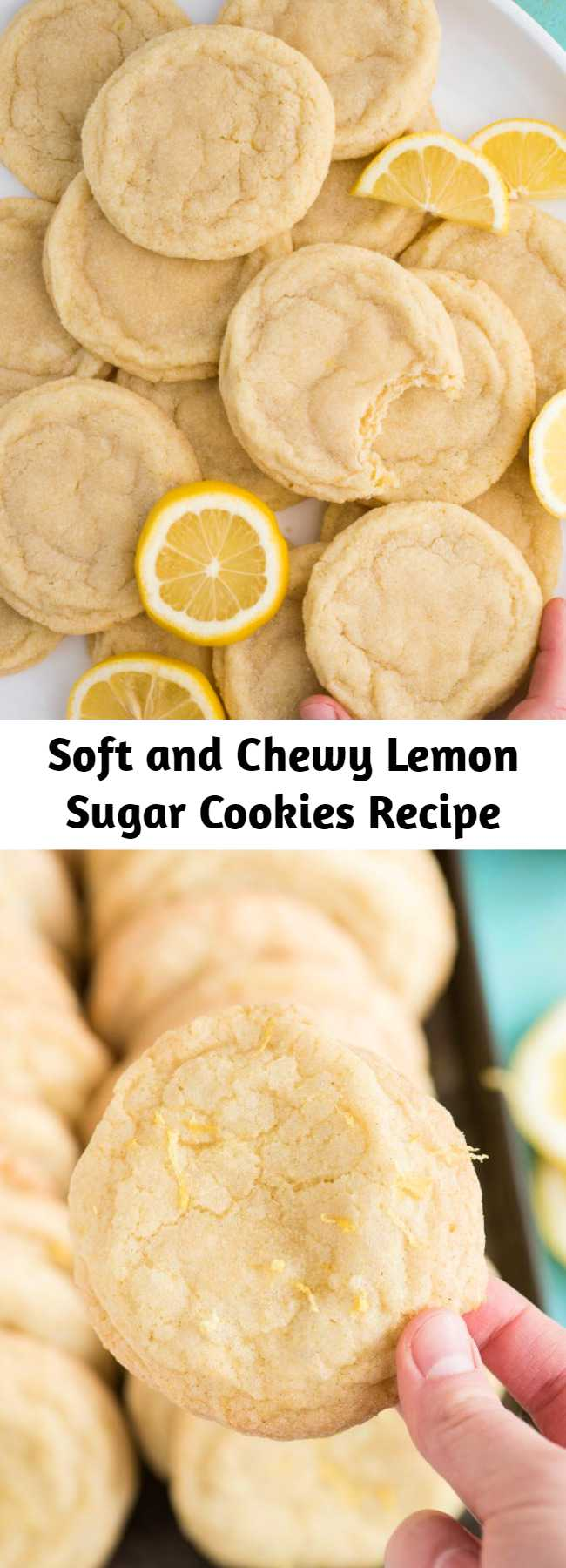 Soft and Chewy Lemon Cookies are a crowd favorite cookie that you can make anytime of the year. These lemon sugar cookies are thick and chewy and easy to freeze. Easy to make in one bowl with fresh lemon and everyday ingredients. #lemoncookies #sugarcookies #cookies