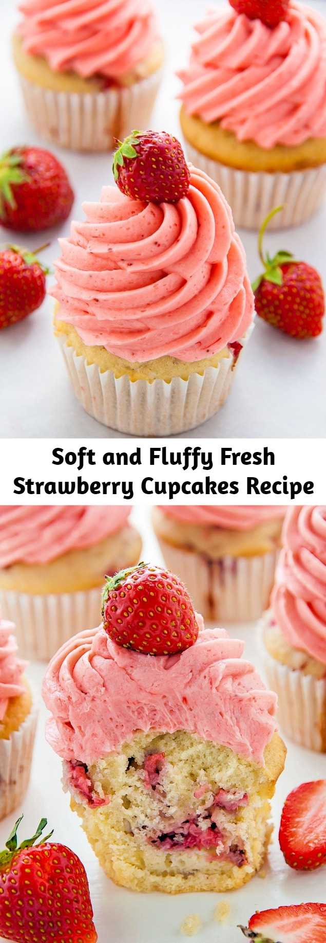 Supremely moist strawberry vanilla cupcakes are topped with fresh strawberry buttercream. These fluffy vanilla cupcakes are bursting with juicy pockets of strawberry and the hot pink frosting is so pretty and delicious. These are the perfect Summer cupcakes!