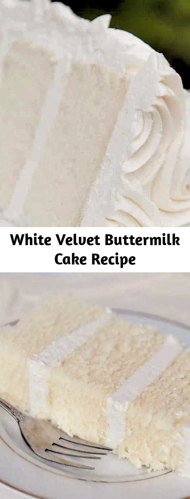 """White velvet cake gets it's flavor and velvety texture from buttermilk. A moist, tender cake that is great for any special occasion. This recipe makes two 8"""" round cakes about 2"""" tall. Bake at 335F for 30-35 minutes until a toothpick comes out cleanly."""