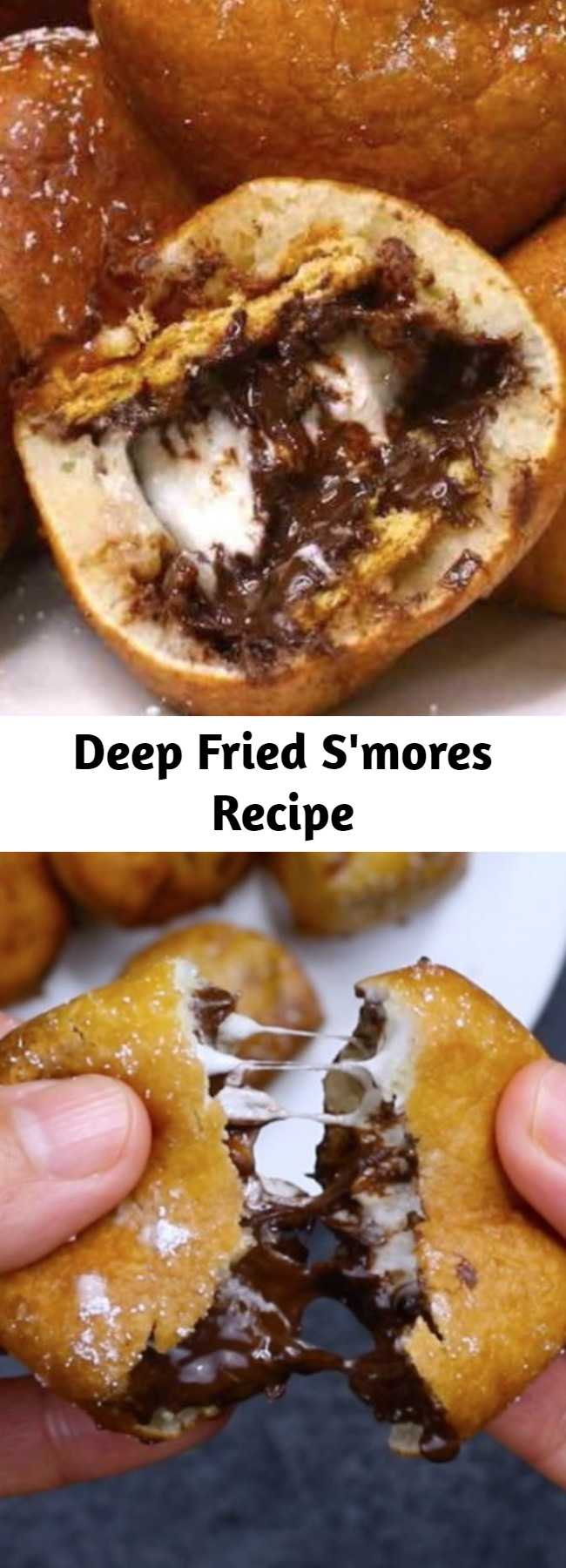 Deep Fried S'mores Recipe - These Deep Fried S'mores are golden on the outside and fluffy inside with delicious graham cracker, chocolate and marshmallow flavors. They melt in your mouth with irresistible s'mores flavors! A great dessert for a party!