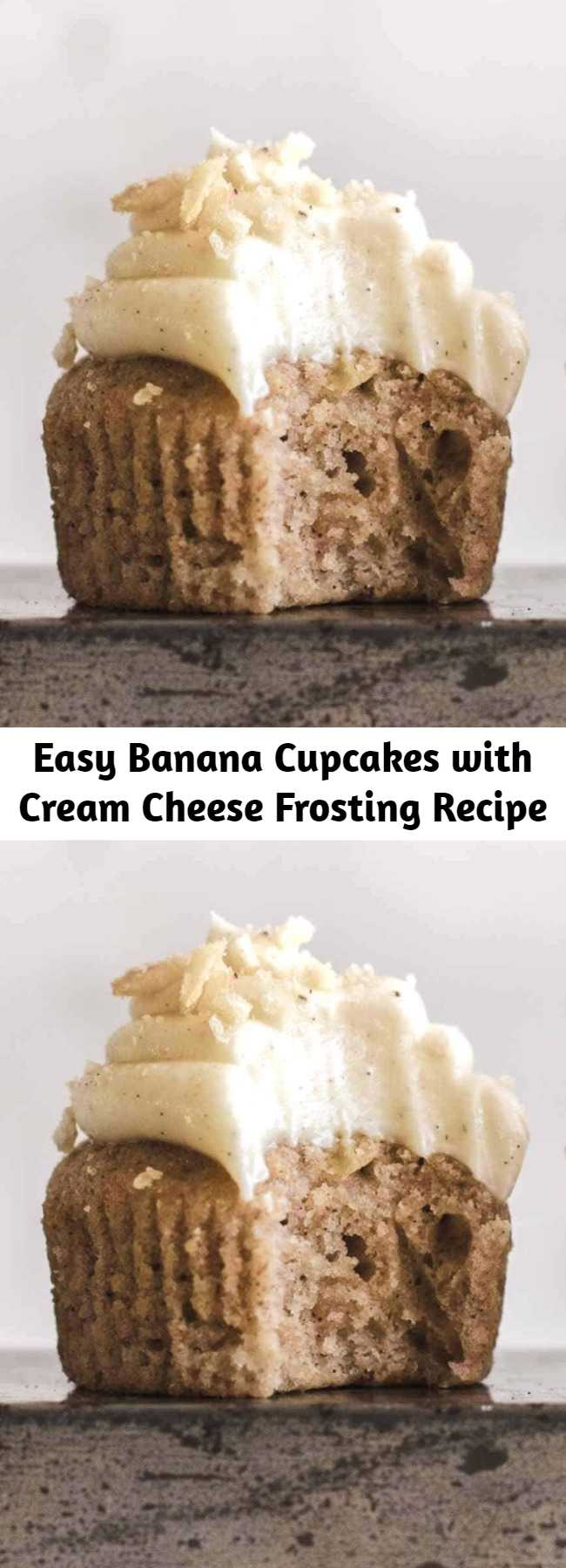 Easy Banana Cupcakes with Cream Cheese Frosting Recipe - These super delicious banana cupcakes topped with cream cheese frosting are very easy to make. Made from scratch with fresh bananas. Soft, moist, and creamy.
