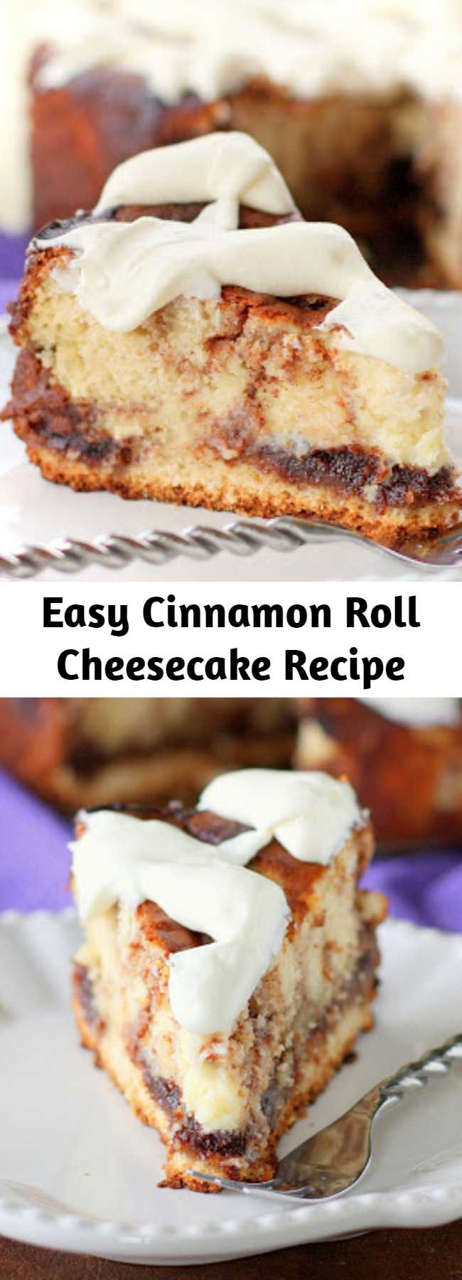 Easy Cinnamon Roll Cheesecake Recipe - This Cinnamon Roll Cheesecake is cheesecake with cinnamon roll dough base and buttery cinnamon swirled throughout. The top is frosted with thick cream cheese frosting.