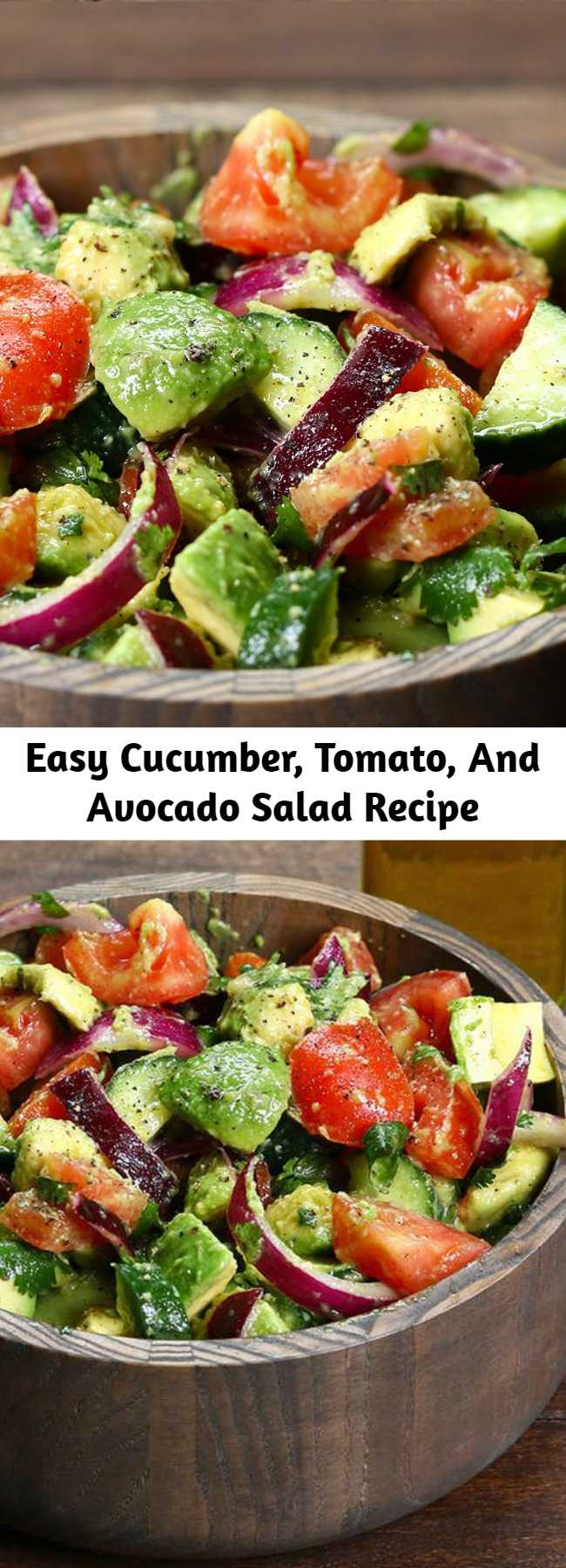 Easy Cucumber, Tomato, And Avocado Salad Recipe - Our family's favorite classic cucumber and tomato salad just got better with the addition of avocado, a light and flavorful lemon dressing and the freshness of cilantro. Easy, excellent avocado salad.