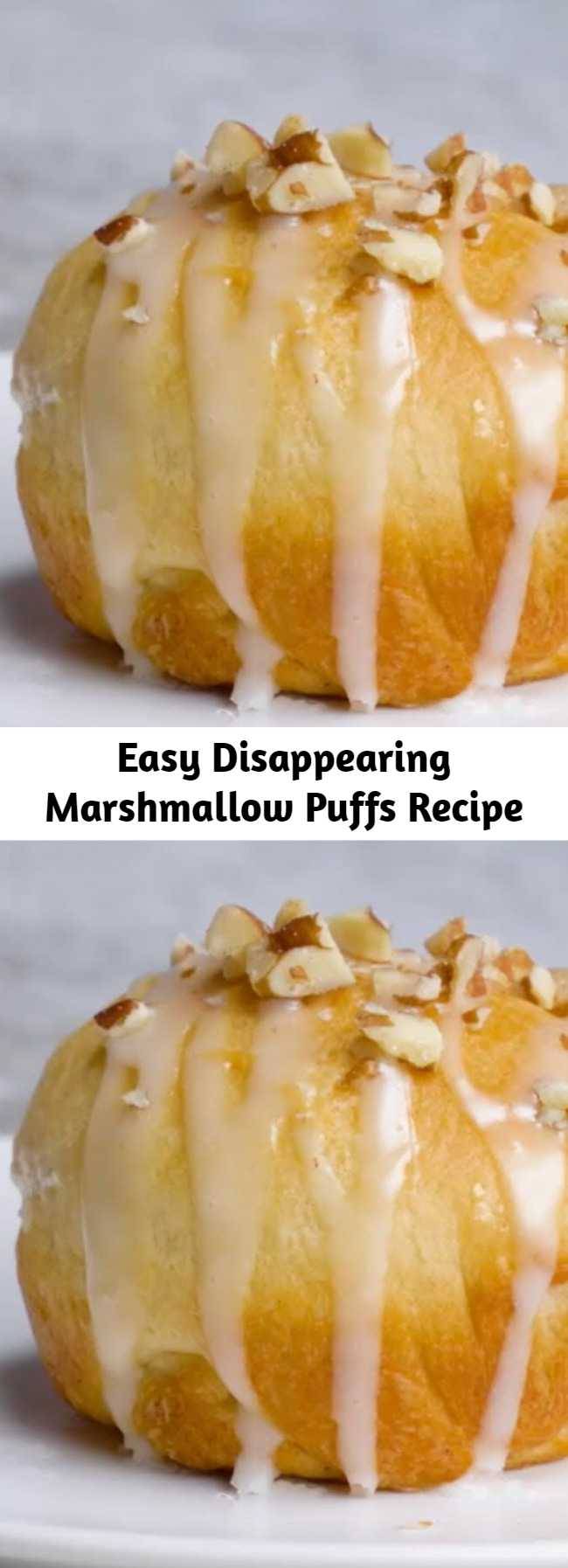 Easy Disappearing Marshmallow Puffs Recipe - Kids love making these tasty treats for Sunday breakfast. While baking, the marshmallows melt and blend with the cinnamon-sugar.