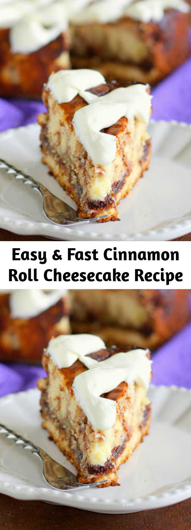 This Cinnamon Roll Cheesecake is cheesecake with cinnamon roll dough base and buttery cinnamon swirled throughout. The top is frosted with thick cream cheese frosting.