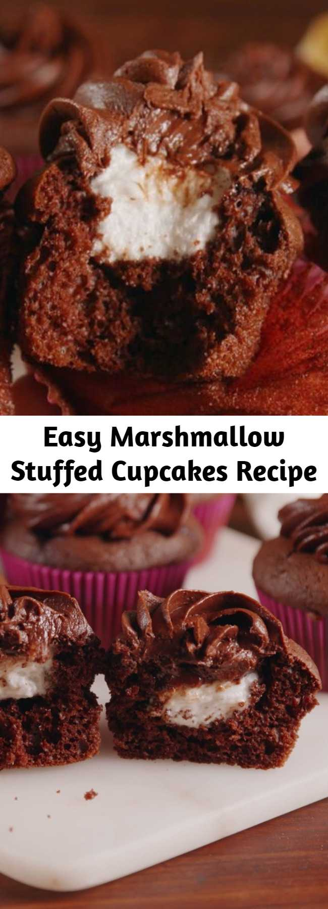 Easy Marshmallow Stuffed Cupcakes Recipe - The only thing that makes a chocolate cupcake better? A gooey marshmallow center. The gooeyness factor on these babies is through the roof.