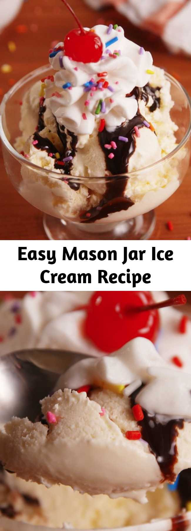 Easy Mason Jar Ice Cream Recipe - Easy to make homemade ice cream with just 4 ingredients. All you need to make this mason jar ice cream is a little elbow grease. No need to scream for ice cream!