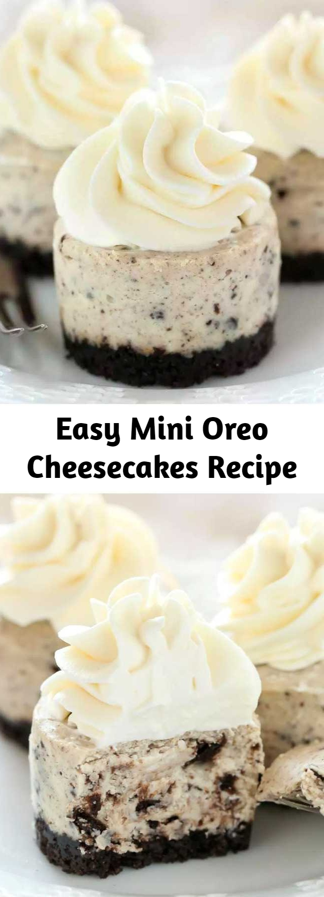 Easy Mini Oreo Cheesecakes Recipe - An easy two ingredient Oreo crust topped with a smooth and creamy Oreo cheesecake filling. These Mini Oreo Cheesecakes make a perfect dessert for any time of year!