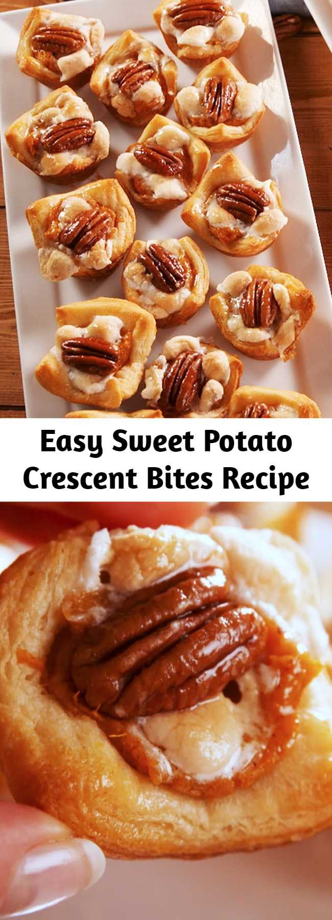 Easy Sweet Potato Crescent Bites Recipe - A guarantee: You will NOT be able to stop eating these little guys. They're the perfect amount of sweet and savory, so you can serve them before or after the big meal! Sweet Potato Crescent Bites from Delish.com are a great appetizer for this Thanksgiving. #easy #recipe #thanksgiving #holiday #app #appetizer #fingerfoods #Pecan #crescentrolls #sweetpotato #potato #marshmallows #minimarshmallows #quick