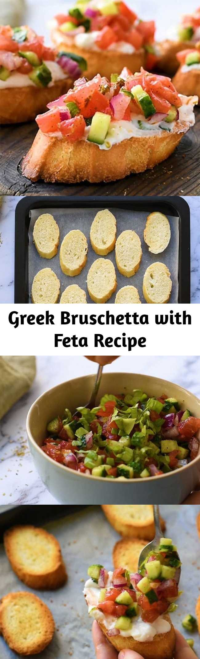 Greek Bruschetta with Feta - This appetizer recipe is loaded with flavor. Toasted bread - crostini- coated in a creamy feta spread and topped with tomato, cucumber, and red onion seasoned with Greek Vinaigrette. #bruschetta #greekbruschetta #appetizer #greekrecipe
