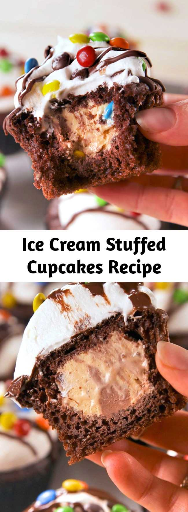 Cupcakes and ice cream all in one! It's easy to fill your favorite cupcakes with your favorite ice cream to make one easy to serve and eat party treat. The method is super easy - and the options for flavor combinations are endless! Nothing beats ice cream and cake. #easyrecipe #baking #cupcakes #dessert #icecream