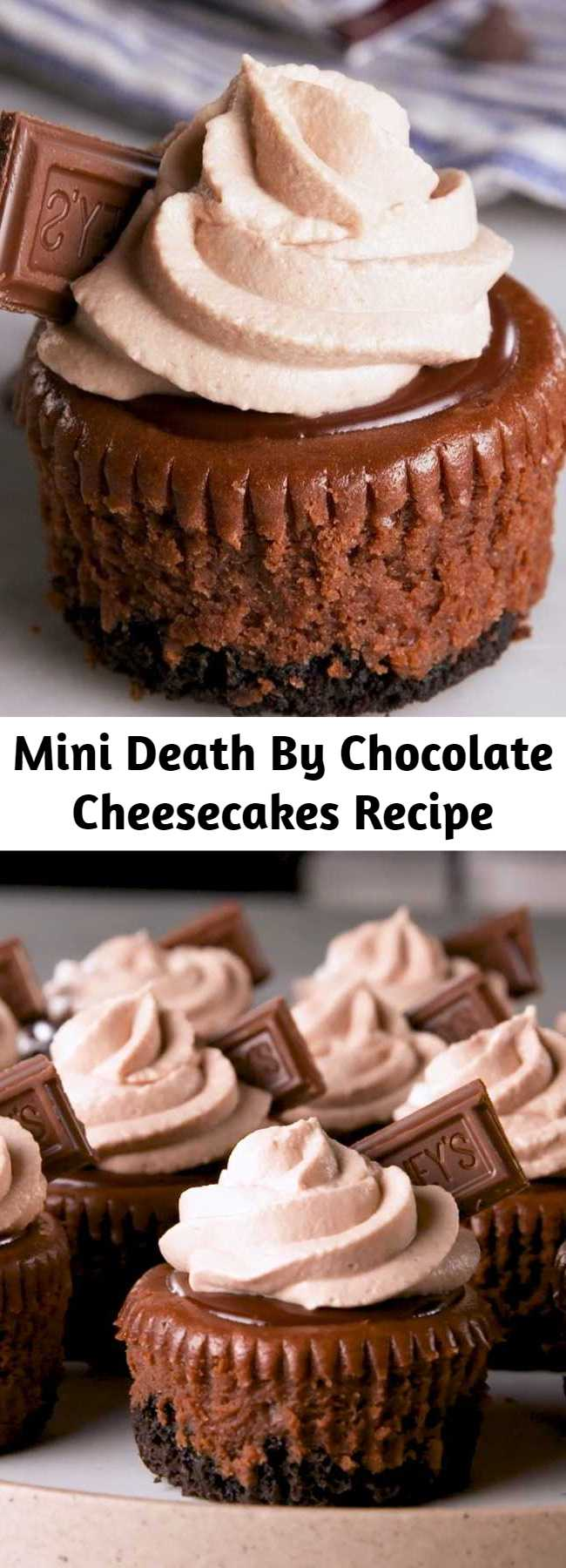 Mini Death By Chocolate Cheesecakes Recipe - Mini cheesecakes are the best way to get a party started...or rather, the best way to end one. Either way, death by chocolate is always the best of the best. These cupcakes are rich and creamy, and chocolate is involved from top to bottom. They're the perfect indulgence. #easy #recipe #mini #deathbychocolate #chocolate #cheesecake #ganache #creamcheese #baked #oreos