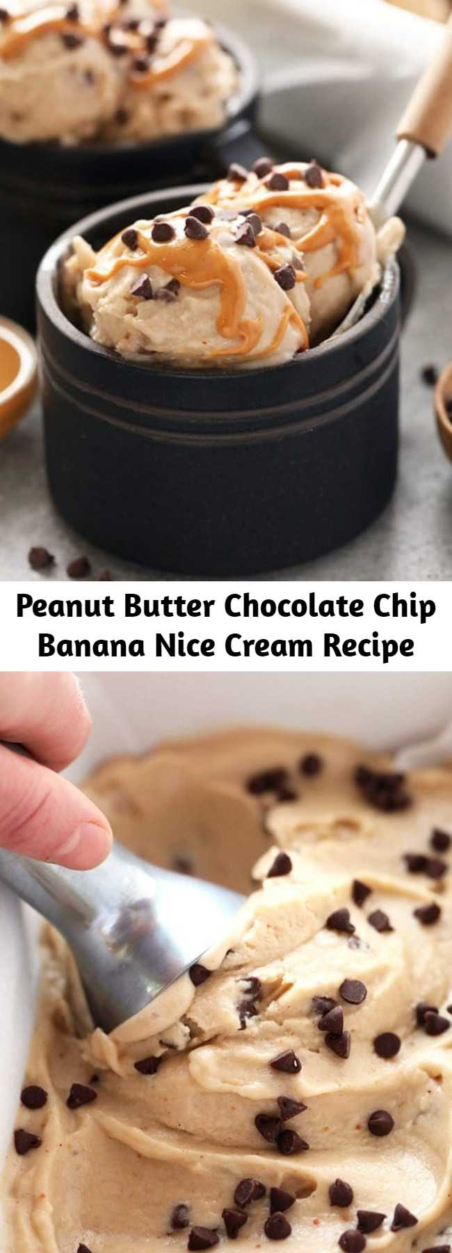 Peanut Butter Chocolate Chip Banana Nice Cream Recipe - This Peanut Butter Banana Nice Cream recipe will make your dessert dreams come true! With only 4 ingredients, this nice cream is dairy-free, vegan and ready in under 10 minutes flat. Top with chocolate chips and serve immediately or freeze for later! #kidfriendly #dessert #healthydessert #glutenfree