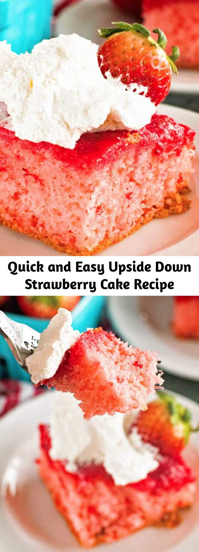 Quick and Easy Upside Down Strawberry Cake Recipe - Need a quick and easy dessert that's bursting with flavor? This easy Strawberry Upside Down Cake only requires a boxed strawberry cake mix plus a few more ingredients. The result is a light, fluffy cake that's bursting with strawberry flavor that's impressive, yet easy. It's so easy anyone can make it!