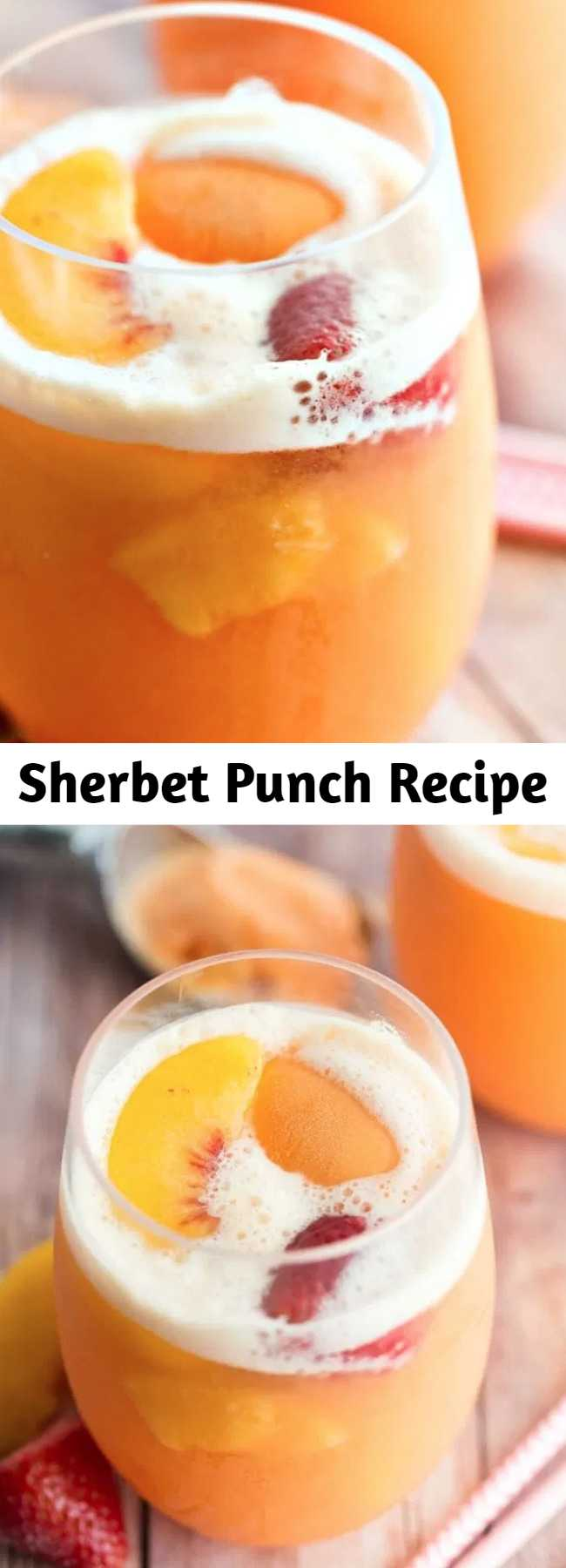 Sherbet Punch Recipe - Sherbet punch made with ginger ale, white grape juice, peaches, and strawberries is the best punch recipe ever! Perfect party punch for your next baby shower, wedding shower, summer party, or random Tuesday afternoon!