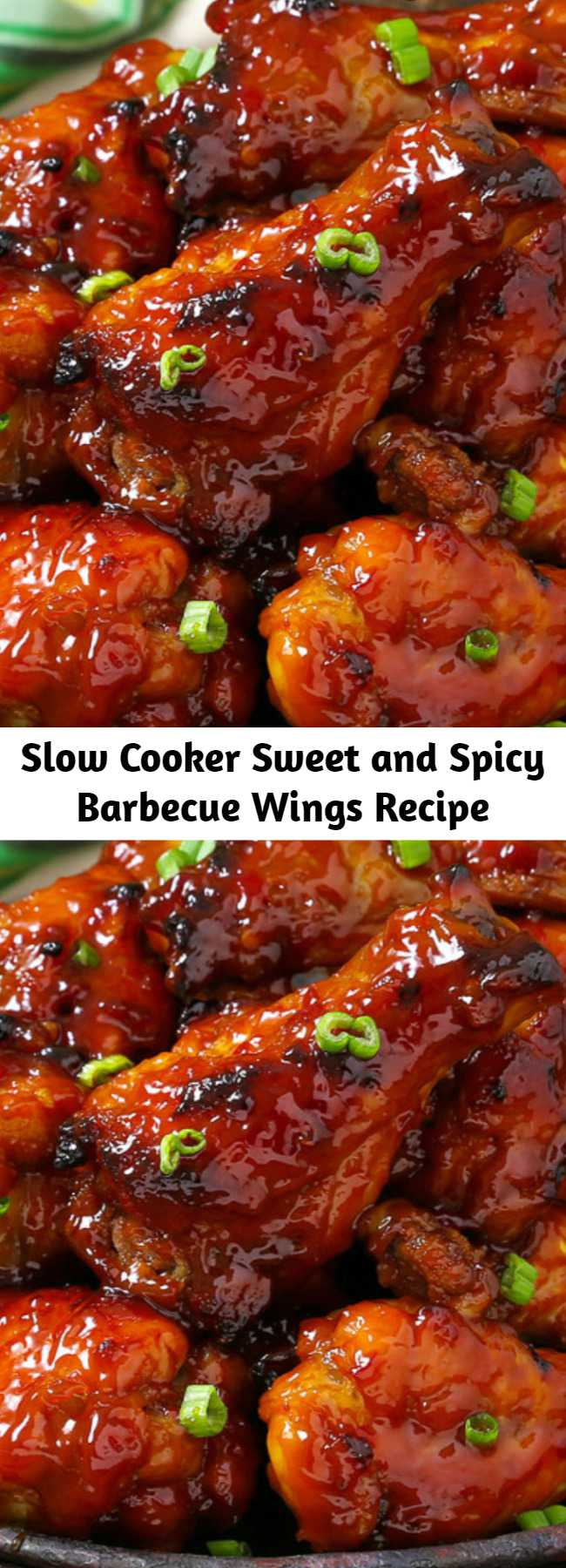 Slow Cooker Sweet and Spicy Barbecue Wings Recipe - Slow Cooker Sweet and Spicy Barbecue Wings are so tender the meat falls off the bone and melts in your mouth. You get the best of both worlds with this bold barbecue sauce. Made in the crockpot you won't find an easier recipe! They just about cook themselves. #Crockpot #Appetizer
