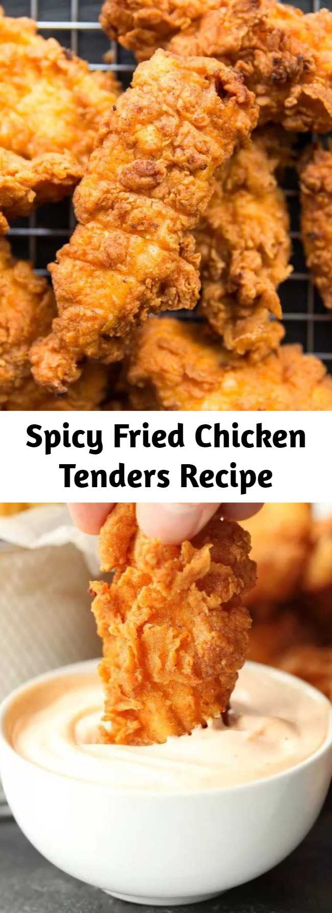 Spicy Fried Chicken Tenders Recipe - These Spicy Chicken Tenders are ridiculously delicious! Chicken strips marinated in buttermilk and hot sauce, then deep fried for extra crispiness. Need I say more?! #chicken #chickentenders #chickenstrips #spicychicken #friedchicken