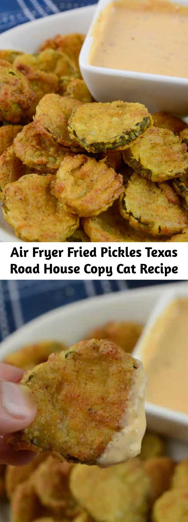 Air Fryer Fried Pickles Texas Road House Copy Cat Recipe - One of my favorites! This is a Texas Road House Copycat Fried Pickle recipe. To make it even better it is made right in the air fryer. Serve it as an appetizer as you root on your favorite team on Sunday night football, or a side dish paired next to a juicy hamburger. No matter how you serve up these gems, they are dynamite in flavor. #CopyCat #Airfryer #Appetizer #FriedPickles