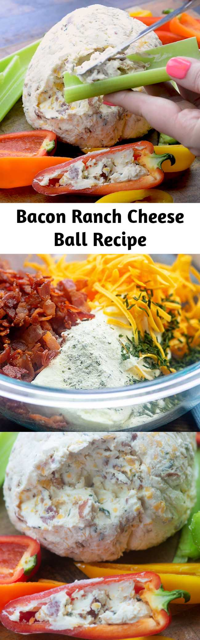 Bacon Ranch Cheese Ball Recipe - This bacon ranch cheese ball is perfect for serving friends and family! Add crackers for the carb lovers and serve it up with celery and sweet peppers for the low carb people! #lowcarb #keto #cheeseball #snack