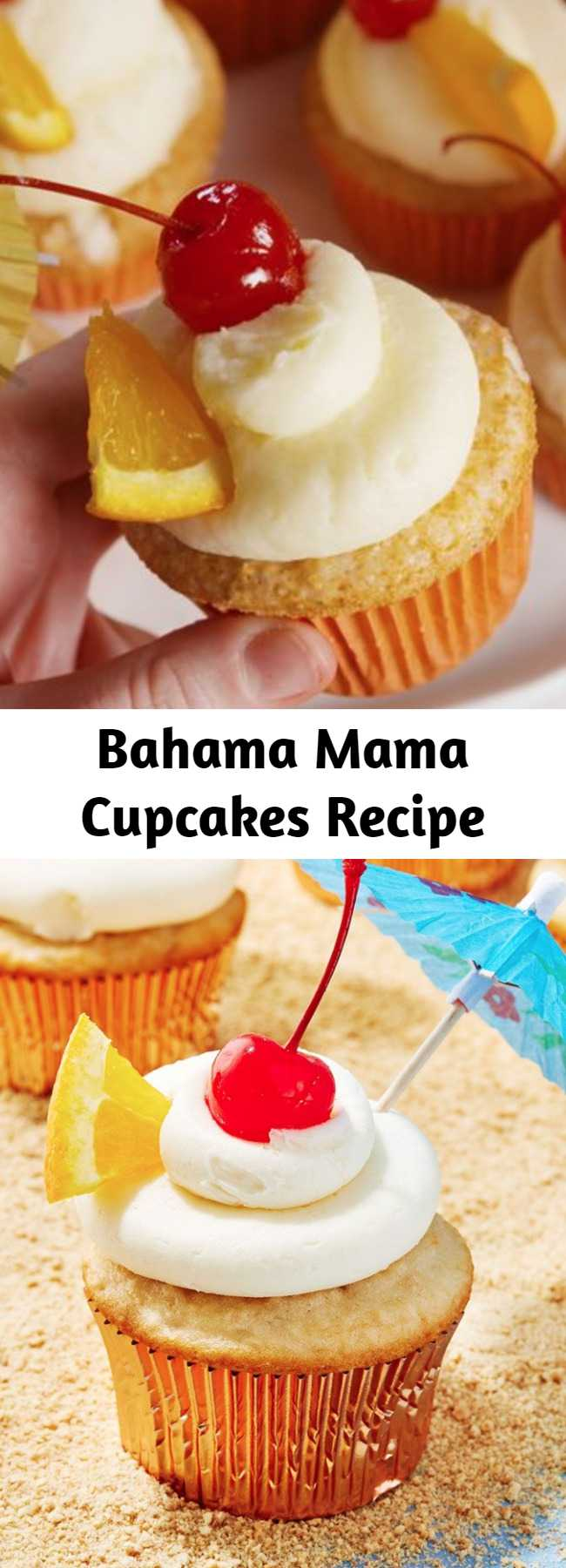 Bahama Mama Cupcakes Recipe - Bahama Mama cupcakes turn your favorite summertime drink into the perfect dessert. One bite and you'll feel like you've had the beach vacation of your dreams. #food #easyrecipe #baking #cupcakes #dessert
