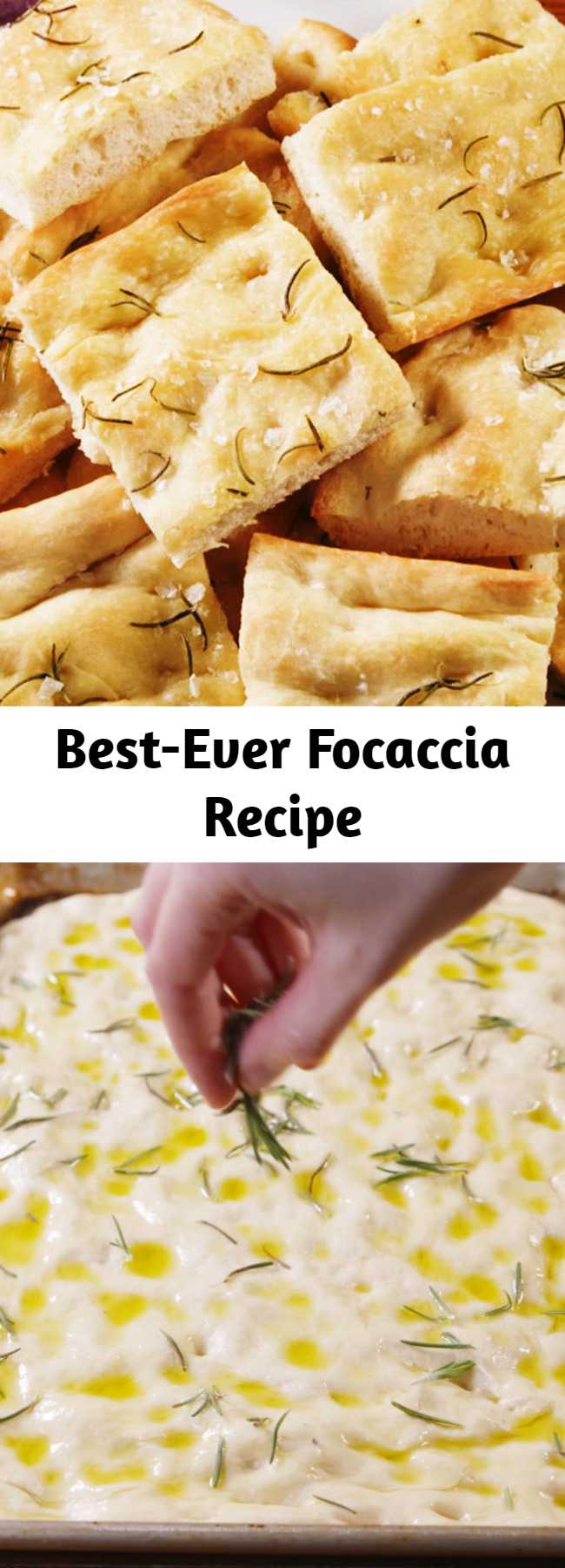 Best-Ever Focaccia Recipe - Is there anything more delicious or addicting than warm, freshly baked focaccia? If you answered no, you came to the right place. Our version is totally classic, topped with fresh rosemary leaves and crunchy sea salt. It's perfectly crispy-toasty on the outside and super soft-fluffy inside. Learn how to conquer this Italian classic with a few easy-to-follow tips. #easy #recipe #bread #focaccia #rosemary #italian #skillet #oliveoil #howto