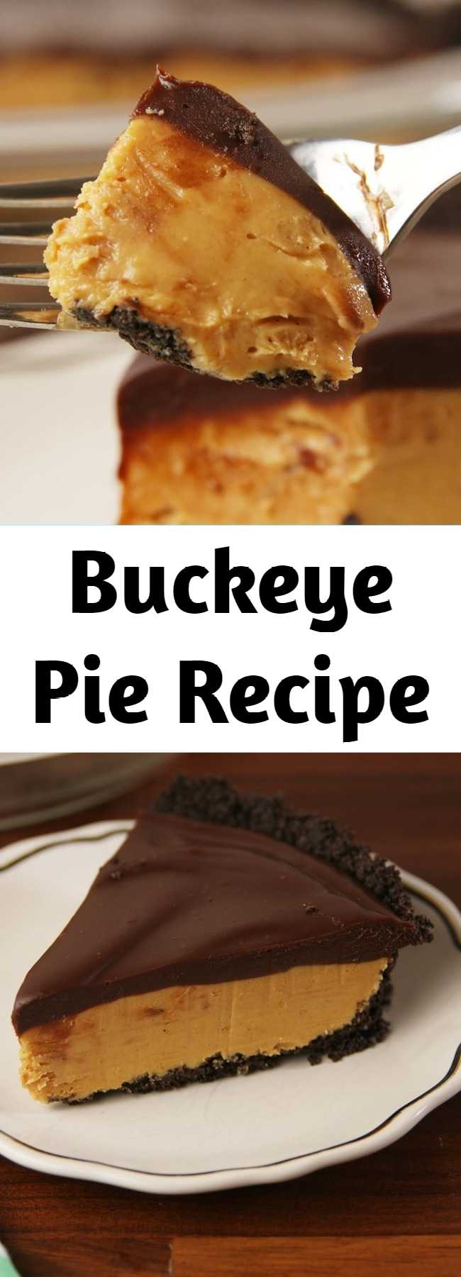 Buckeye Pie Recipe - Our love for buckeye everything knows no bounds, but this pie is our number one. It's rich enough for a holiday dessert, but also no bake, so you can make it all summer. #food #pastryporn #comfortfood #kids #easyrecipe #recipe #inspiration #ideas #diy #home