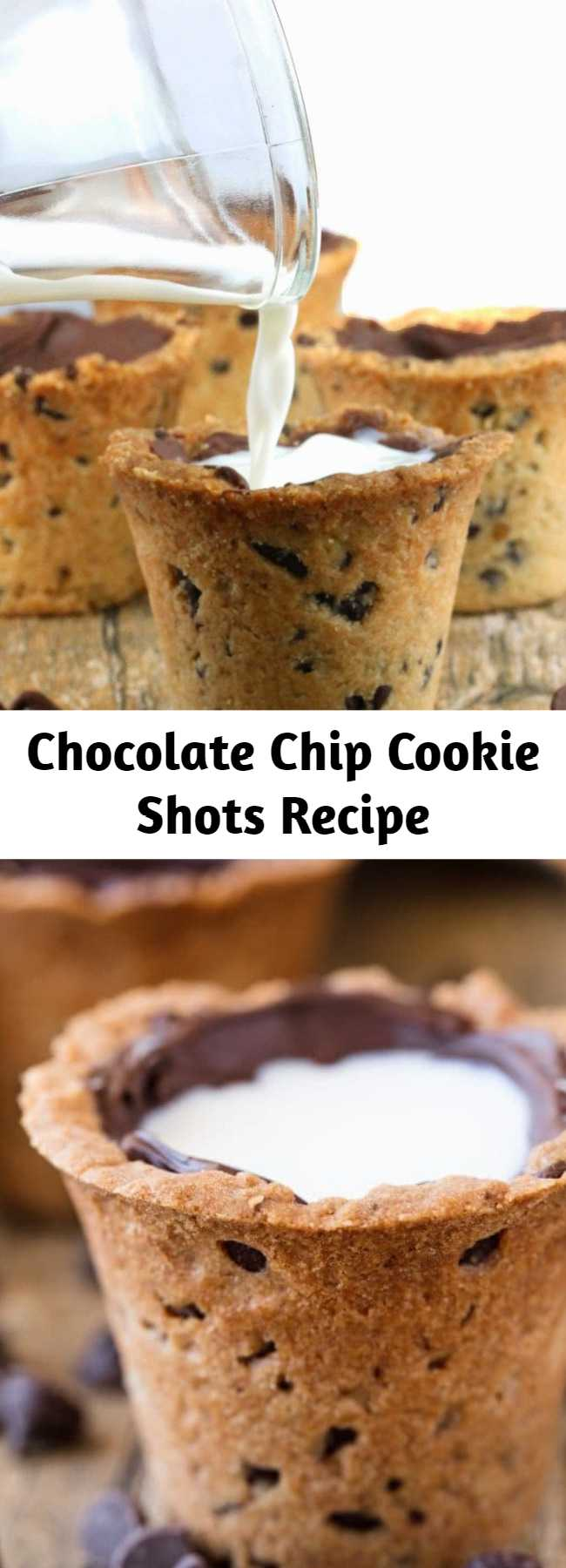 Chocolate Chip Cookie Shots Recipe - Drink your milk and cookies straight from a Chocolate Chip Cookie Shot glass! This fun dessert makes for a great party food. So much fun!