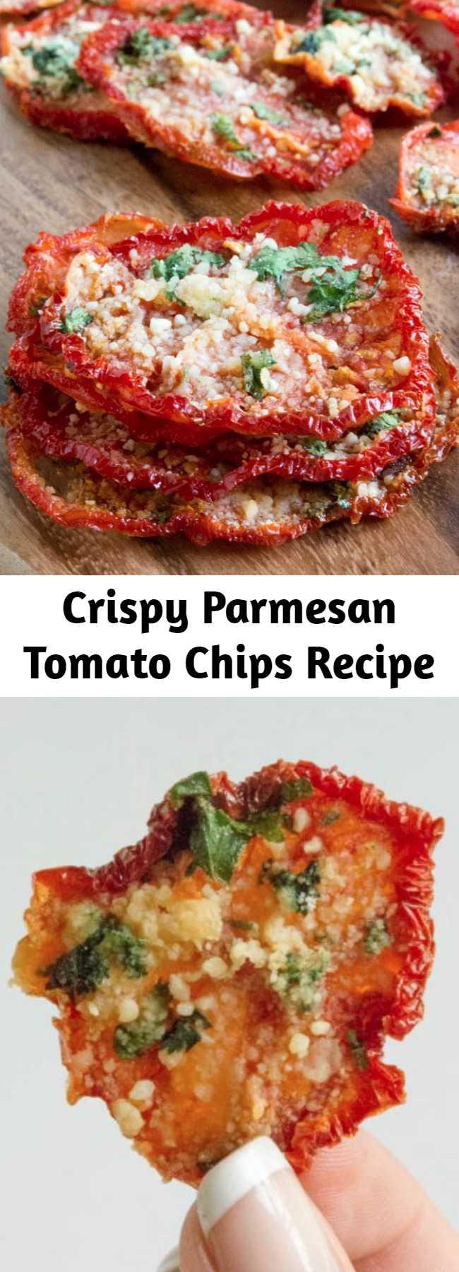 Crispy Parmesan Tomato Chips Recipe - Crispy Parmesan Tomato Chips, low carb, gluten free and amazing!
