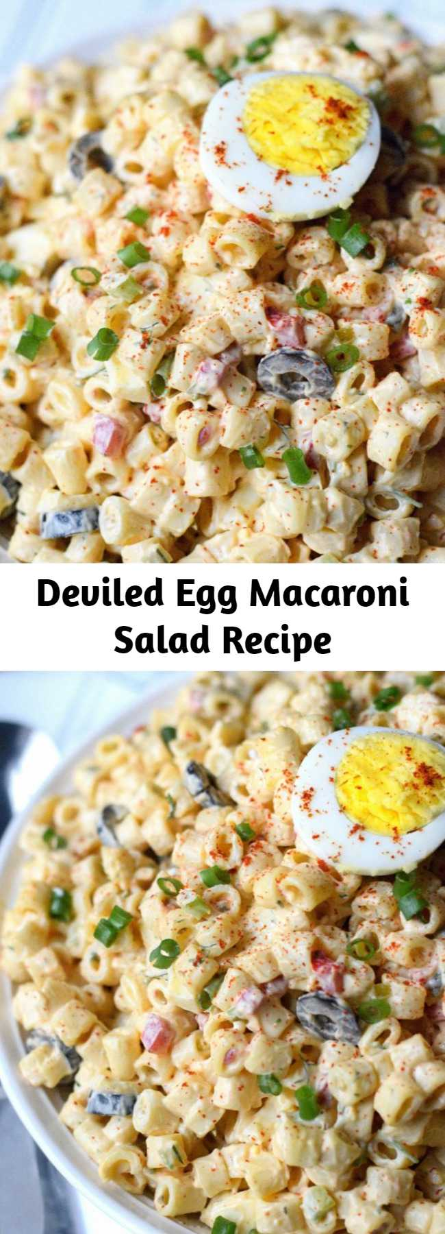 Deviled Egg Macaroni Salad Recipe - This deviled egg macaroni salad is creamy and loaded with hard boiled eggs. Quick and delicious and the perfect addition to any meal. #macaronisalad #pastasalad #summerfood #potluckside