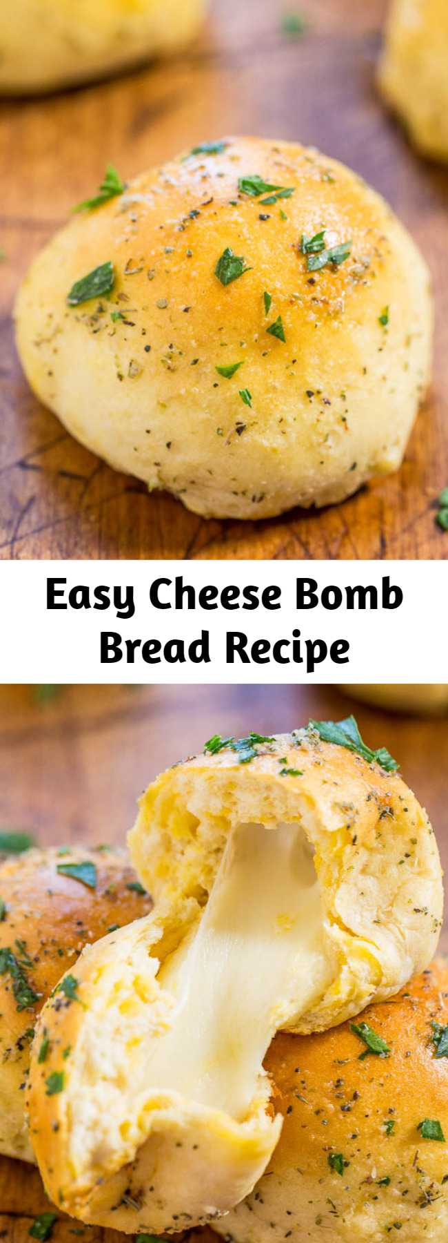 Easy Cheese Bomb Bread Recipe - Soft, buttery bread brushed with garlic butter and stuffed with CHEESE! So good, mindlessly easy, goofproof, and ready in 10 minutes! A hit with everyone!!