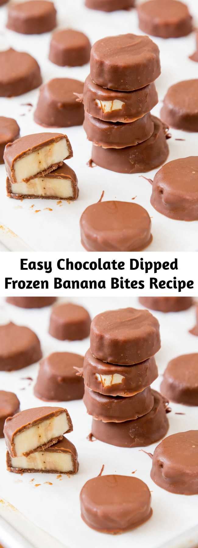 Easy Chocolate Dipped Frozen Banana Bites Recipe - These Chocolate Dipped Frozen Banana Bites are perfect little snacks with just 3 ingredients! So easy and tasty!