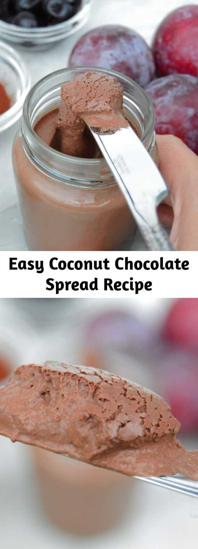 Easy Coconut Chocolate Spread Recipe - Dairy free chocolate spread that takes a few minutes to make. Perfect on hot bread, crackers or just eaten with a spoon. Rich and creamy thanks to coconut that gives an amazing taste and texture. #vegan #chocolate #chocolatespread #veganrecipe