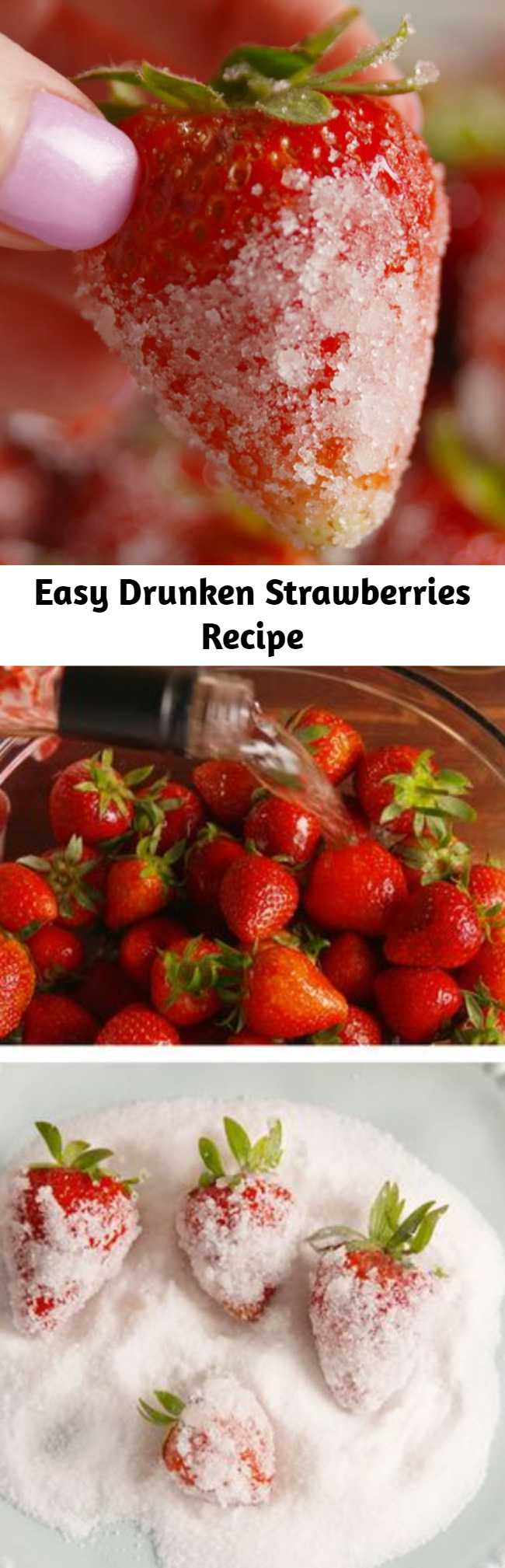 Easy Drunken Strawberries Recipe - This easy drunken strawberries recipe or whatever you want to call them, you'll be calling them the perfect summer treat! Perfect to eat by themsleves or top a dessert. Easy to make with just 3 ingredients, you are going to love these boozy frozen strawberries!