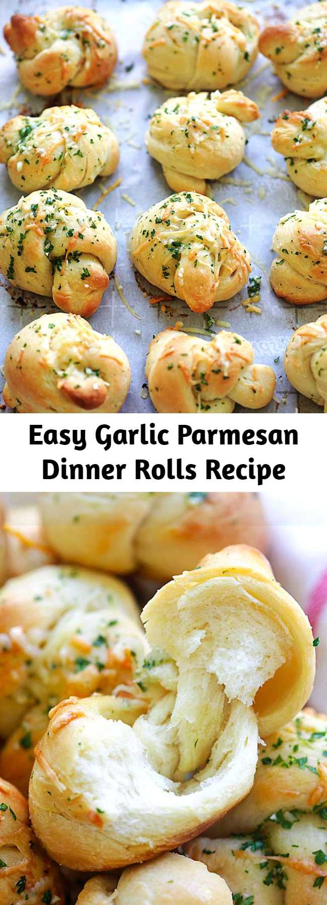 Easy Garlic Parmesan Dinner Rolls Recipe - Homemade garlic Parmesan dinner rolls are the best dinner rolls ever. This recipe is so easy with cotton soft rolls topped with garlic and Parmesan cheese. So good! #baking #dinner