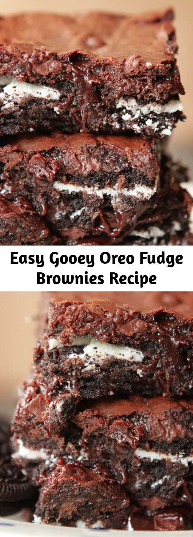 Easy Gooey Oreo Fudge Brownies Recipe - This easy Oreo Fudge Brownies recipe seriously makes the most chewy, fudgy brownies ever! If you love gooey and fudgy brownies, you have to try this trick ASAP.