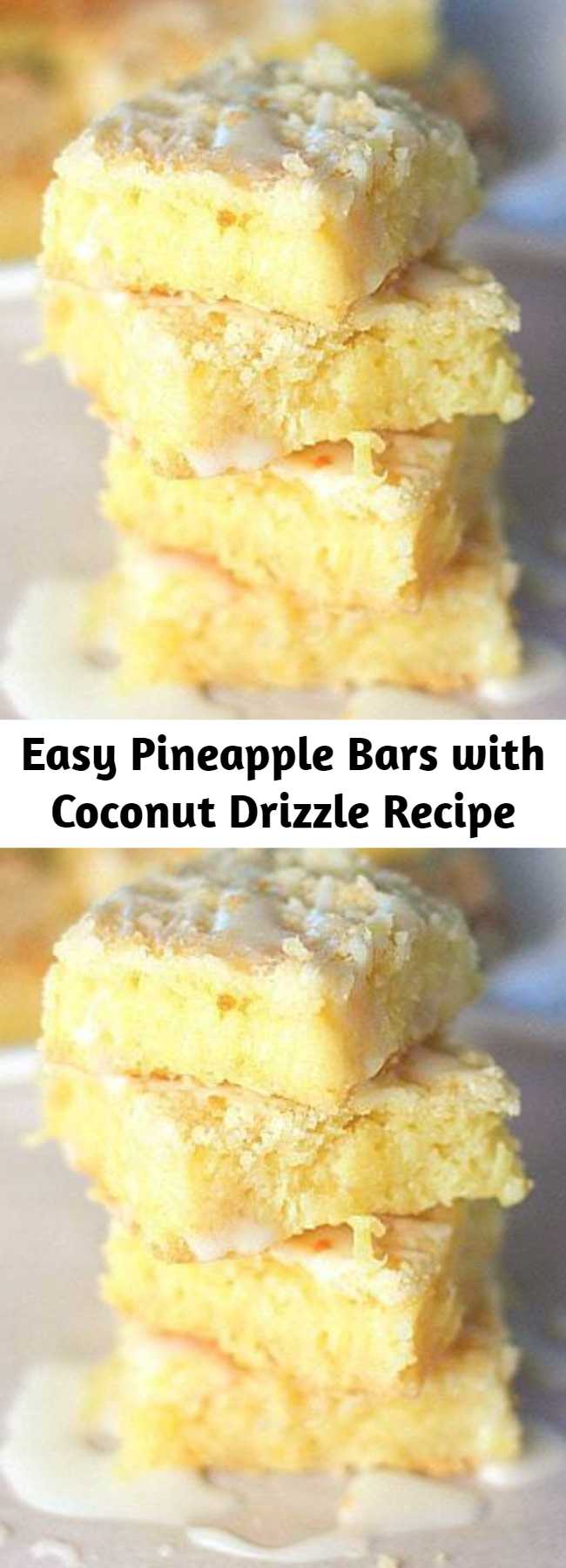 Easy Pineapple Bars with Coconut Drizzle Recipe - Only a few ingredients and super easy to make. I topped with optional Coconut Drizzle...they are good with or without!