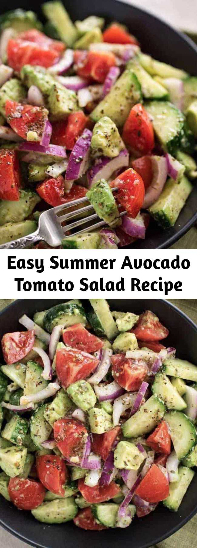 Easy Summer Avocado Tomato Salad Recipe - This fresh and delicious Avocado Tomato salad recipe is made with cucumbers, tomatoes, and avocados mixed in with a unique and flavorful dressing. So refreshing, perfect for the summer and pairs well with any meal as a side dish or enjoy on its own!