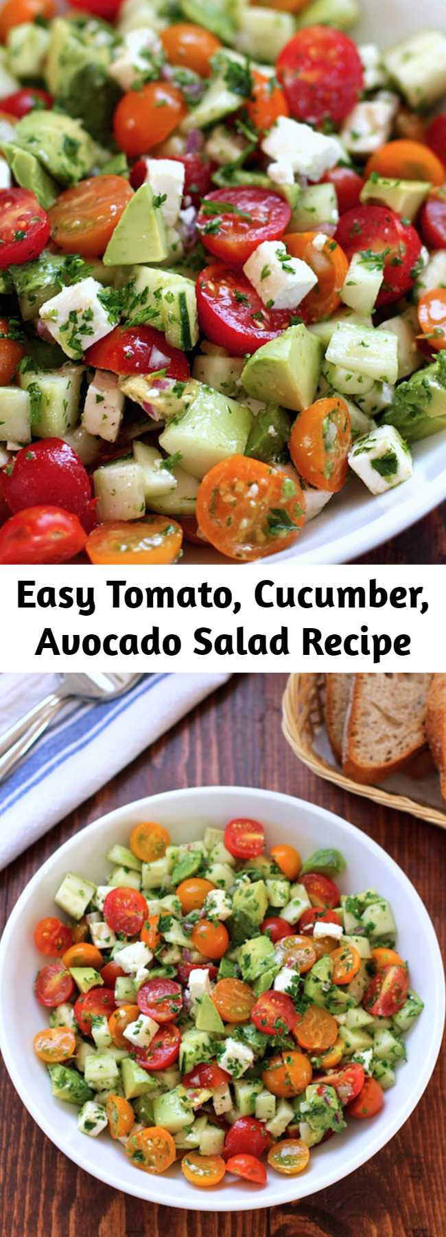 Easy Tomato, Cucumber, Avocado Salad Recipe - This tomato, cucumber, avocado salad is an easy, flavorful summer salad.  It's crunchy, fresh and simple to make.  It's a family favorite and ready in less than 15 minutes.
