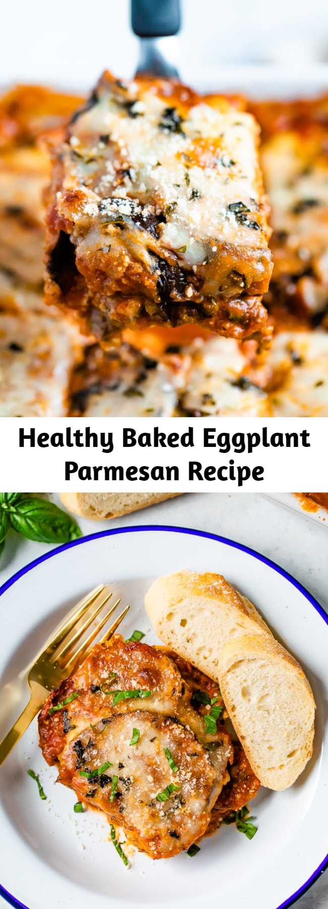 Healthy Baked Eggplant Parmesan Recipe - Make a healthy baked eggplant parmesan with crispy almond flour-coated eggplant slices that are baked — no frying or bread crumbs needed!